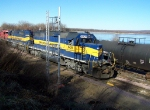 ICE 6421 waits for the chance to go east across the Mississippi River at 